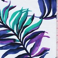 *1 YD PC--White/Purple/Aqua Green Palm Frond Swimwear