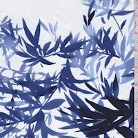*1 YD PC--White/Navy/Ink Palm Leaves Swimwear