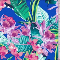 *1 YD PC--Cobalt Multi Tropical Floral Swimwear