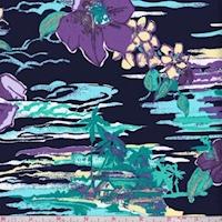 *1 YD PC--Navy/Purple/Jade Island Floral Swimwear