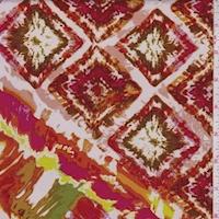 *1 YD PC--ITY Orange/Olive Blurred Diamond Jersey Knit