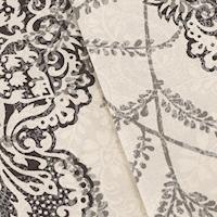 Black/Gray/Multi Baroque/Paisley Print Canvas Decor Fabric