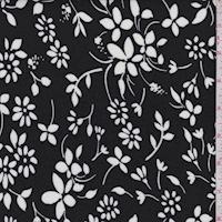 Black/White Floral Toss Jersey Knit