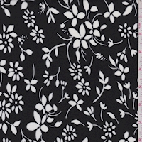 *1 YD PC--Black/White Floral Toss Jersey Knit
