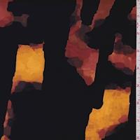 *1 YD PC--Black/Orange Gold Geode Swimwear