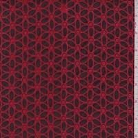 Wine/Crimson Embroidered Daisy Floral Cotton