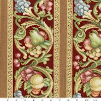 Red/Green/Multi Stripe Fruit Tapestry Decorating Fabric