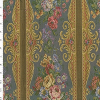 Dusty Blue/Yellow/Multi Floral Stripe Tapestry Decor Fabric