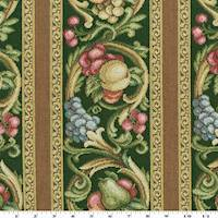 Green/Yellow/Multi Fruit Stripe Tapestry Decor Fabric