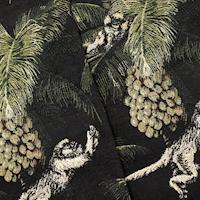 Black/Green/Multi Monkey/Palm Tree Tapestry Decor Fabric