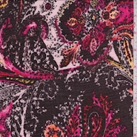 Pale Pink/Walnut Paisley Crinkled Gauze