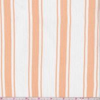 White/Apricot Stripe Crinkled Gauze