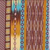 Ochre/Turquoise/Maroon Tribal Stripe Crinkled Gauze