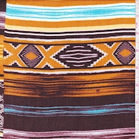 Raisin Red/Sky/Orange Gold Aztec Stripe Crinkled Gauze