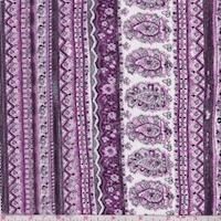 Magenta/White Deco Stripe Crinkled Gauze