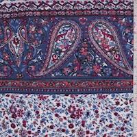 Violet Blue Paisley/Floral Stripe Crinkled Gauze