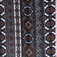 White/Sky/Black Medallion Stripe Crinkled Gauze