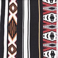 White/Orange/Black Aztec Stripe Crinkled Gauze