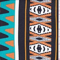 Orange/Black/Teal Aztec Stripe Crinkled Gauze