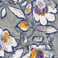 *4 YD PC--Gray/Blue Multi Digital Floral Printed Plaid Woven Shirting