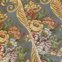 Gray/Yellow/Multi Floral Stripe Tapestry Decorating Fabric