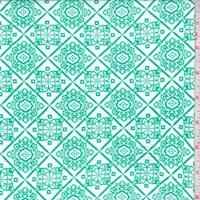 White/Spring Green Medallion Lattice Crinkled Gauze