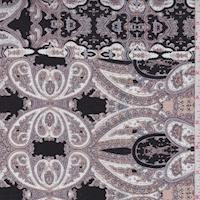 Black/Beige/Taupe Paisley Stripe Crinkled Gauze