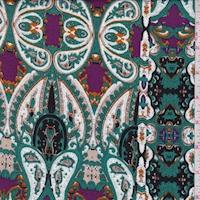 Black/Jade/Purple Paisley Stripe Crinkled Gauze