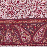 Rust Brown Paisley/Floral Stripe Crinkled Gauze