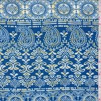 Ocean/Sun Paisley/Medallion Stripe Crinkled Gauze