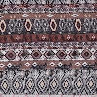 Brown/Nickel Geo Stripe Crinkled Gauze
