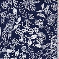 Dark Navy/White Stylized Floral Scroll Crinkled Gauze