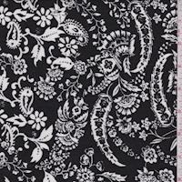 Black/White Stylized Floral Scroll Crinkled Gauze