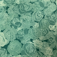 "*4 YD PC--Teal ""Soft Floral"" Cotton"