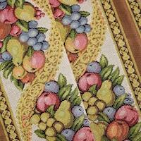 Antique Yellow/Multi Fruit Stripe Tapestry Decorating Fabric