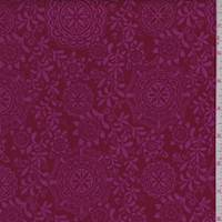*3 5/8 YD PC--Cranberry/Pink Medallion Vine Print Cotton