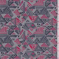 *1 3/8 YD PC--Grey/Navy/Red Triangle Print Swimwear
