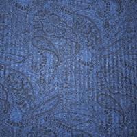 *1 3/4 YD PC--Night Blue/Black Paisley Printed Textured Rib Knit