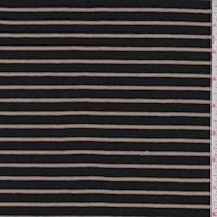 *2 3/4 YD PC--Black/Cashew Stripe Jersey Knit