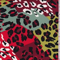 *2 5/8 YD PC--Avocado/Coral Cheetah Patchwork Double Brushed Jersey Knit