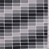 *1 1/4 YD PC--Black/Grey Brick Print Swimwear