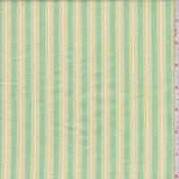 *2 YD PC--Citron Green Embroidered Stripe Cotton