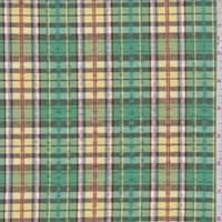 *4 7/8 YD PC--Green/Yellow Multi Plaid Cotton Seersucker