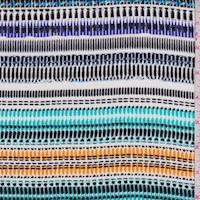 White/Violet/Turquoise Wicker Stripe Crinkled Gauze
