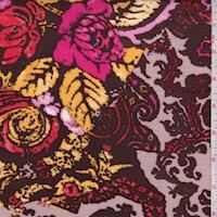 Dark Brown Multi Floral Damask Crinkled Gauze