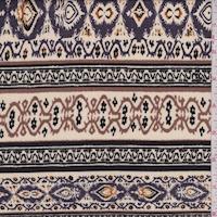 Parchment/Plum Deco Stripe Crinkled Gauze