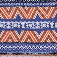 Violet Blue/Orange Southwest Stripe Crinkled Gauze