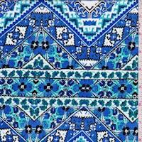 Bright Blue/Teal Mosaic Chevron Crinkled Gauze