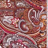 Orange/Brown Paisley Crinkled Gauze
