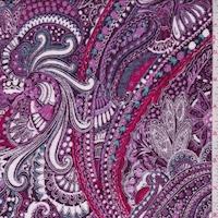 Purple/Orchid Paisley Crinkled Gauze